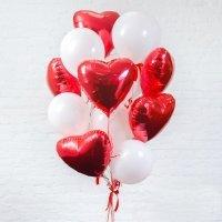 Композиция из шариков с гелием «Сердца для любимой женщины» №507