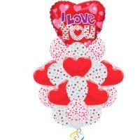 Фонтан из шаров i love you