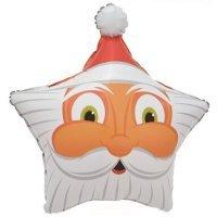 Фольгированный шар (19''/48 см) Звезда, Голова Деда Мороза
