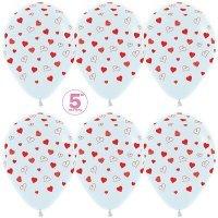 Воздушные шары с гелием с рисунком «Сердечки на белом»