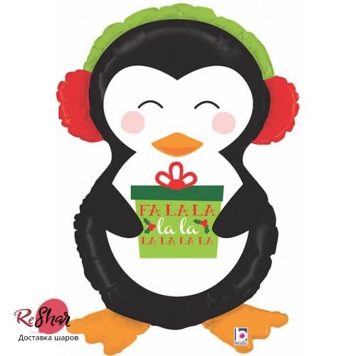 Воздушный шар новый год, Пингвин с новогодним подарком 86см