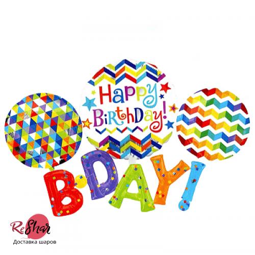 Надпись фольгированными буквами «Happy Birthday» (183см.)