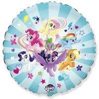 Фольгированный Шар (18''/46 см) Круг, My Little Pony, Дружные Лошадки, Голубой