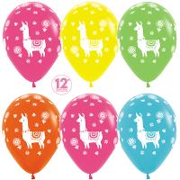 Воздушные шары с гелием Лама Альпака, ассорти 30см