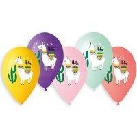 Воздушные шары с гелием Ламы Hola, ассорти 36см
