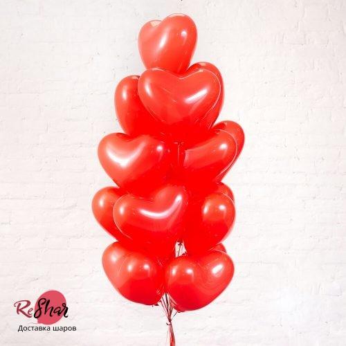 Композиция из шаров «Сердца красные » 17 шт
