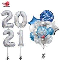 Композиция из воздушных шаров с гелием С Новым Годом №2050