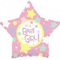 Фольгированная звезда «Baby Girl» нежно розовый (46см.)