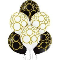 Воздушные шары с гелием с золотыми узорами, юбилей, свадьба 36см