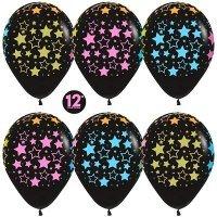 Воздушные шары с гелием с рисунком «Яркие звёзды на чёрном»
