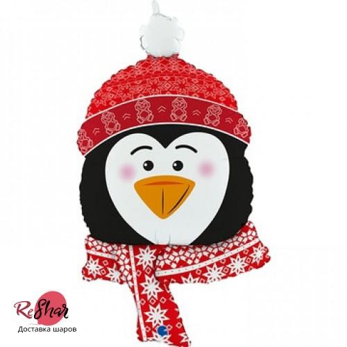 Воздушный шар с гелием Праздничный Пингвин 86 см, новый год (ЗТ)