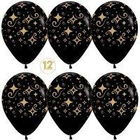 Воздушные шары с гелием Сверкающие бриллианты, чёрный 30см