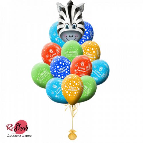 Фонтан из шаров на день рождения зебра