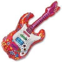 Фольгированный шар фигура Гитара красная 112см