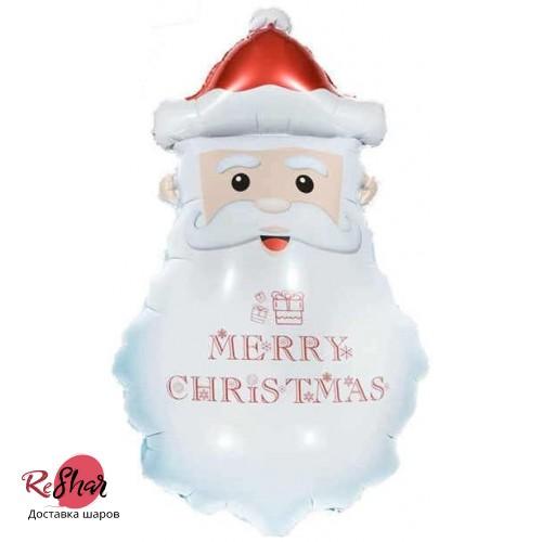 Фольгированный шар (33''/84 см) Фигура, Голова Деда Мороза
