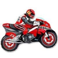 Фольгированный шар (31''/79 см) Фигура, Мотоцикл, Красный