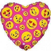 Фольгированный шар сердце «Влюблённые смайлы» Розовый (46см.)