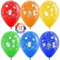 Воздушные шары с гелием с рисунком «День рождения Три кота»
