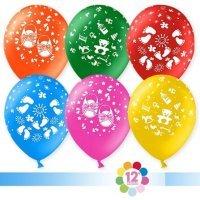 Воздушные шары с гелием с рисунком «Ассорти на выписку»