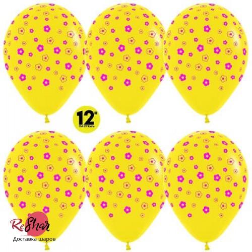 Воздушные шары с гелием с рисунком «Цветочки на жёлтом»
