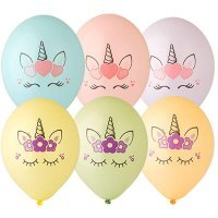 Воздушные шары с гелием единорог, ассорти 36см