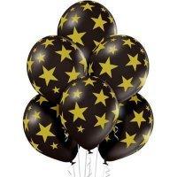 Шары золотые звёзды на чёрном 36см