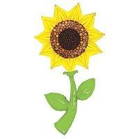 Воздушный шар с гелием фигура Подсолнух, цветок 150см