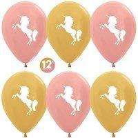 Воздушные шары с гелием с рисунком «Красавцы единороги»