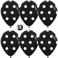 Воздушные шары с гелиемс рисунком «Чёрный с белым горохом»