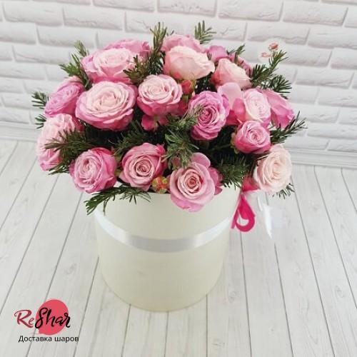 Цветы в белой коробке, розовая роза 25шт, №45