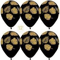 Воздушные шары с гелием золотые листья на чёрном 30см