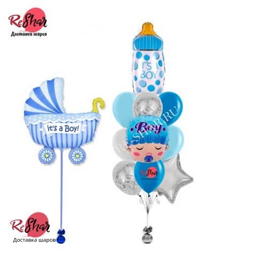 Композиция из гелиевых шаров на выписку для мальчика № 1040