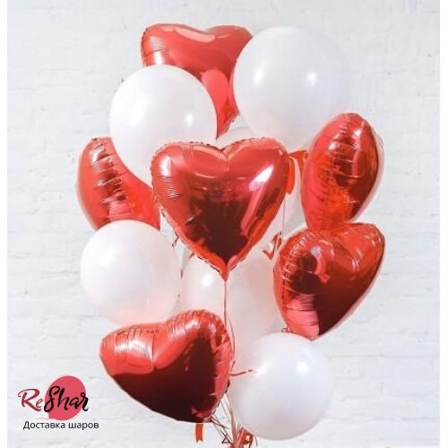 Облако из фольгированных шаров сердец Комплимент