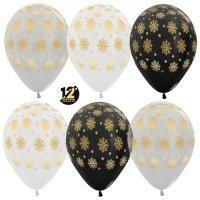 Воздушные шары с гелием с рисунком «Золотые снежинки»