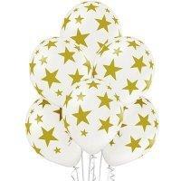 Шары золотые с рисунком звёзды на белом 36 см