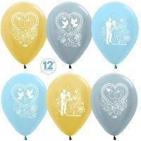 Воздушные шары с гелием с рисунком «Ассорти на свадьбу»