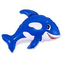 Фольгированный шар (35''/89 см) Фигура, Веселый кит, Синий