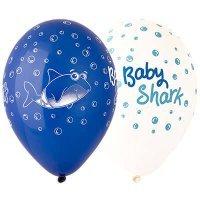 Латексные шарики с надписями Baby Shark, акула малыш 36см