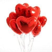 Композиция из фольгированных шаров «Сердца красные» 9 шт. №183