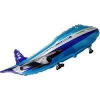 Фольгированный шар (39''/99 см) Фигура, Самолет, Синий