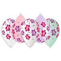 Воздушные шары с гелием цветы гибискус, ассорти 36см