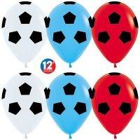 Шары с гелием с рисунком «Футбольные мячи в ассорти»