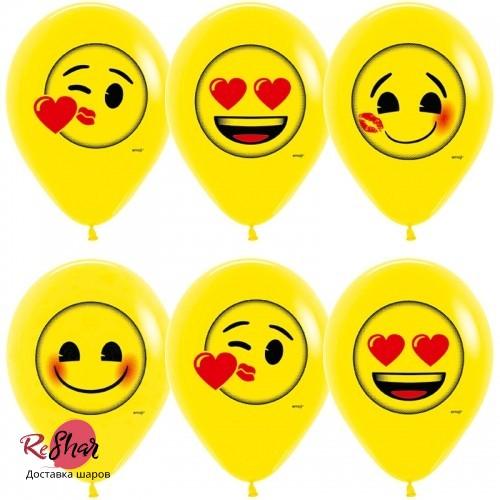 Воздушные шары с гелием с рисунком «Смайлик Эмоции Любовь»