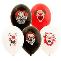 Воздушные шары с гелием Ужасный клоун хэллоуин, 36см