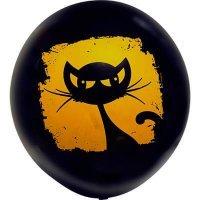 Воздушные шары с гелием большой чёрная кошка, хэллоуин 80см