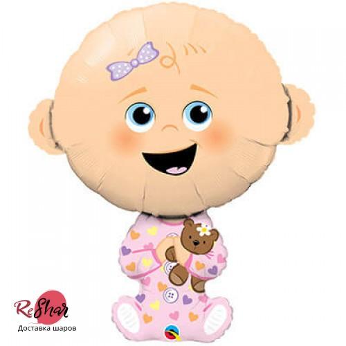 Воздушный шар с гелием фигура малышка девочка на выписку 96см