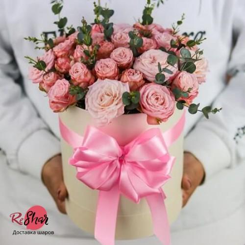 Цветы белой коробке, розовая роза 15шт, №47