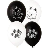 Воздушные шары с гелием котики мяу мяу, ассорти 36см