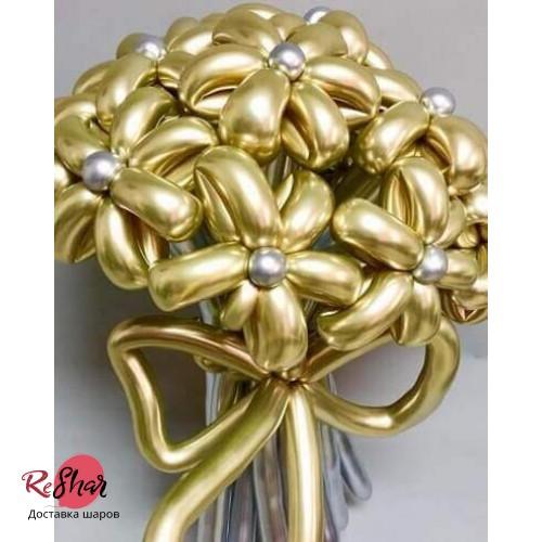 Цветы из золотых шариков хром