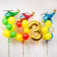 Композиция из шаров «День рождения Мальчика Вертолётная команда» №127, цифра 3